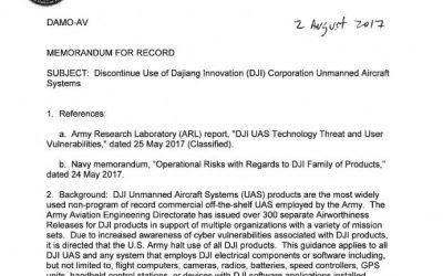 Zakaz używania produktów DJI wamerykańskiej armii